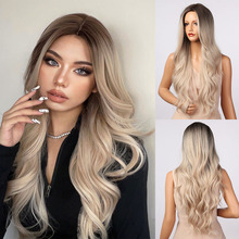 HENRY MARGU Long Wavy Black Blonde White Ombre Synthetic Wigs Natural Middle Part Hair Wigs for Women Heat Resistant Cosplay Wig
