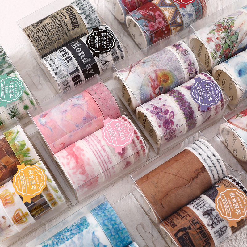 7 Pcs/set How Time Flies Washi Tape Set Bullet Journal  Decorative Scrapbooking Diy Masking Tape Pack Lot Stationery Set