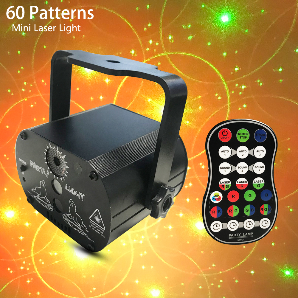 Mini 60 Patterns  RGB Disco Light DJ LED Laser Stage Projector Red Blue Green Lamp USB 5V Wedding Birthday Party DJ Lamp