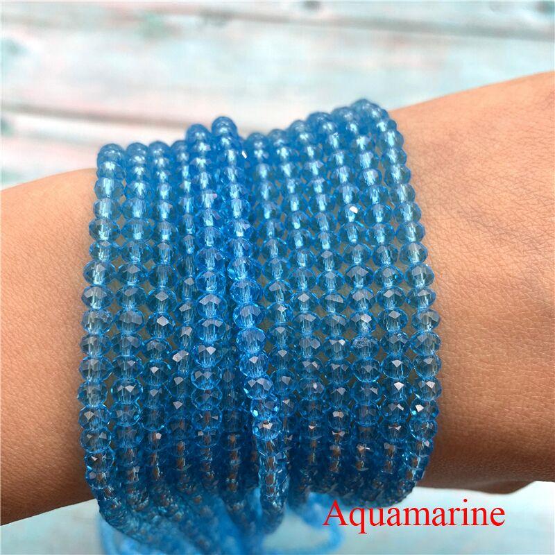 40 цветов 1 нить 2X3 мм/3X4 мм/4X6 мм хрустальные бусины rondelle хрустальные бусины стеклянные бусины для самостоятельного изготовления ювелирных изделий - Цвет: Aquamarine