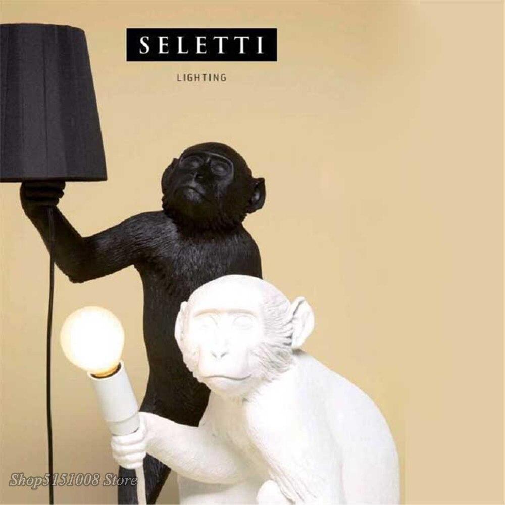 Seletti preto moderno macaco lâmpada corda de cânhamo luzes pingente país da américa resina loft industrial pendurado luminária decoração para casa - 5