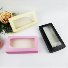10pcs large size White/black/Pink Paper Window Box Wallet Packing Gift Boxes Jewelry Packaging Display Box(China)