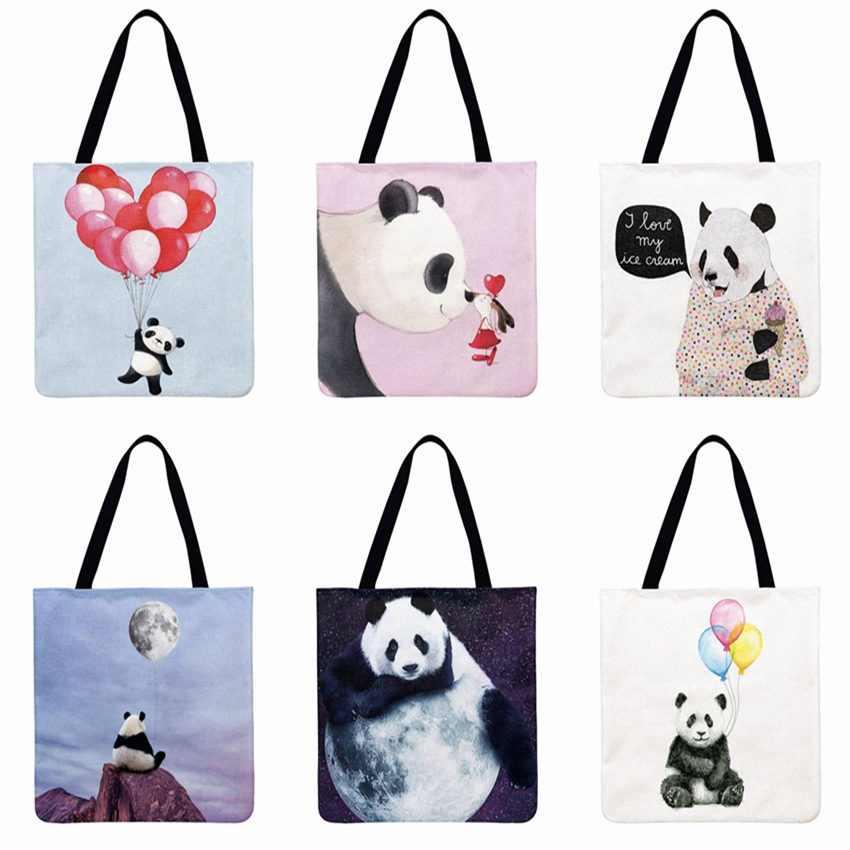 Lovely Panda Illustration Printing Tote Bag Shoulder Bag Women Linen Febric Casual Tote Foldable Shopping Bag Reusable Beach Bag