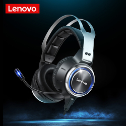 Lenovo HS25 Gaming Headset Noise Reduction 50MM Soft Leather Ear Cups Headphones LED 7.1 Vibration mode with 360 sensitivity Mic