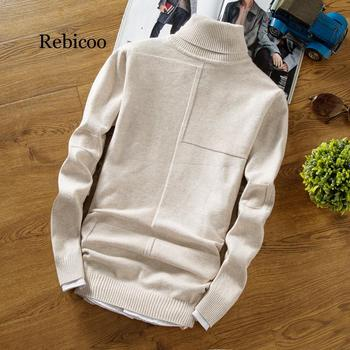 Winter Turtleneck Warm Sweater Men Turtleneck Brand Men Sweaters Slim Fit Pullover Men's Knit Male Double Neck NEW turtleneck husky turtleneck