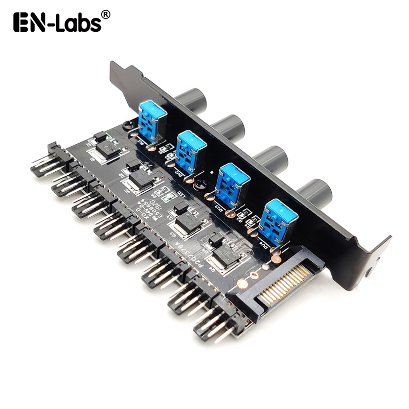 Computer PC 6 Channel 8 Way  4 Pin PWM 3 Pin Fan Speed Controller PCI Cover, 12V Temperature Control For CPU Case Fan Radiator