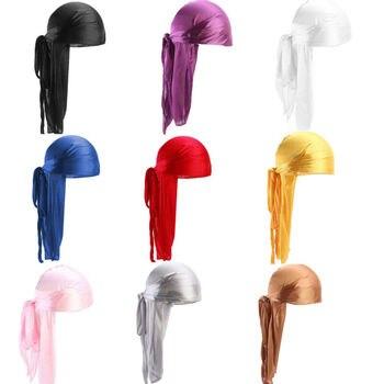 Fashion Men's Satin Durags Bandanna Turban Wigs Pirate Hat Men Silky Durag Headwear Headband 2