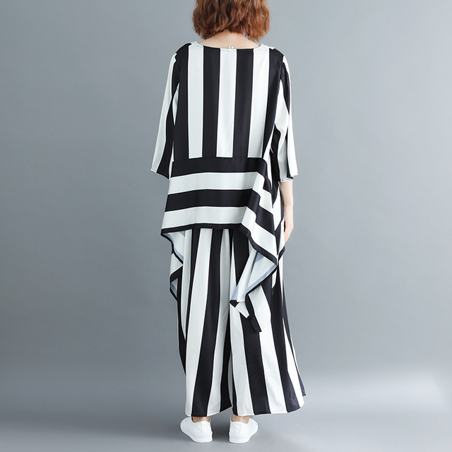 Irregular Loose Hem Stripe Shirt Elastic Suit Casual Waist Two Piece Set  4