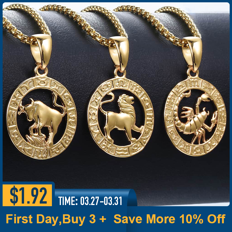 Mens Womens 12 Horoscope Zodiac Sign Gold Pendant Necklace  Aries Leo Wholesale Dropshipping 12 Constellations Jewelry GPM24Pendant  Necklaces