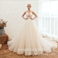 Bridal Shiny Wedding Dress Lace V Neck Crystal Illusion Mesh Beading Tassel Princess Fantasy Bridal Ball Gown Pakaian Pengantin