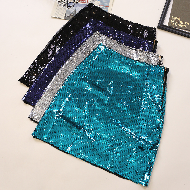 Sexy Skirt  Spring Autumn Sequins High Waist 2020 Summer Sequined Mini Skirt Women Bling Bling Shiny Skirts Sexy Party Mini