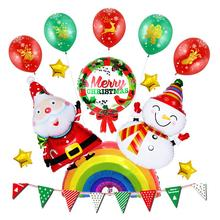 цена на New Year Christmas arrangement balloons Santa snowman aluminum balloon Background wall DIY Christmas decoration balloons ZB249