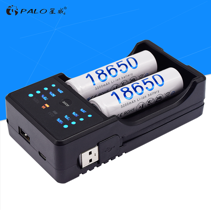PALO 18650 <font><b>14500</b></font> smart <font><b>charger</b></font> for 1.2V AA AAA NiMH battery 3.7V 18500 16350 18650 26500 Li-ion rechargeable battery fast charge image