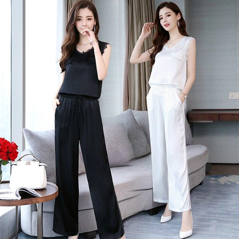 Simple Solid Color Elegant Versitile Fashion Sleeveless High-waisted Korean-style 2018 Summer Set/Suit Skirt