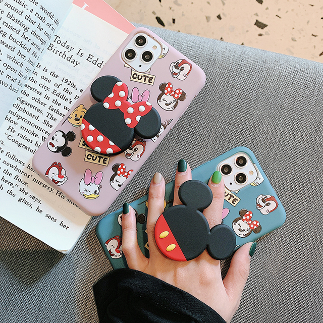 Hot Cartoon mouse Holder Ring Soft Silicone phone case for iphone 6plus 7 7plus 8 8plus X XS XR MAX 11 Pro Daisy back cover capa