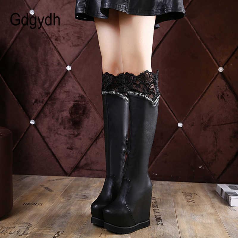 Gdgydh Seksi Dantel Diz Yüksek Çizmeler Seksi platform ayakkabılar Kadın Yüksekliği Artan Sonbahar Kış Çizmeler Kadın Kristal Yan Fermuar Ile