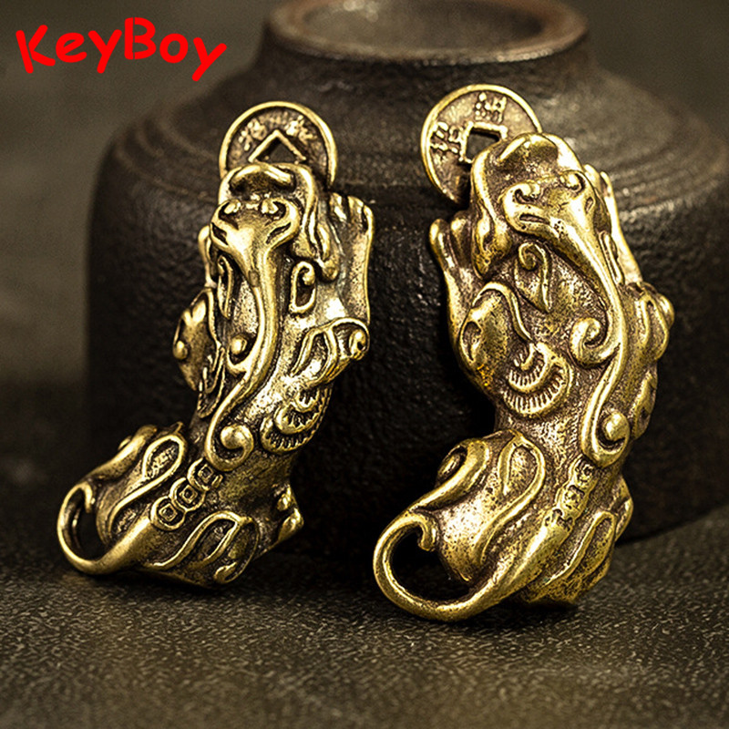 Handmade Brass Biting Coin Pi Xiu Beast Keychains Pendants Solid Vintage Copper Chinese Ancient Animal Lucky Key Ring Hangings