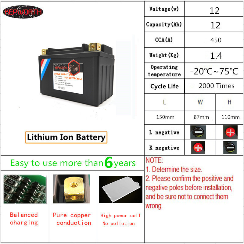 KP12S <font><b>12V</b></font> Motorcycle LiFePO4 <font><b>Battery</b></font> Jump Starter <font><b>Lithium</b></font> <font><b>ion</b></font> <font><b>Battery</b></font> CCA 450A <font><b>12Ah</b></font> With BMS board Voltage Protection 12000mAh image
