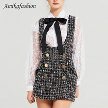 2019 Autumn Winter 2 Piece Set Dress Women Ruffles Bow Shirt Lace Top+Plaid Sleeveless Tweed Vest Double Breasted Overalls