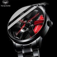 NEKTOM Men Rim Hub Watch Custom Design Car Wrist Watch Stainless Steel Custom not Printing Wheel Rim Hub Watches Man