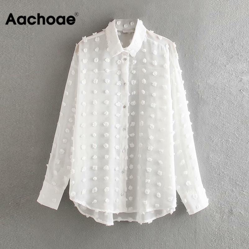 Fashion Embroidery Dot Blouse Women Turn Down Collar See Through Lady Shirt Long Sleeve Chiffon Blouse Plus Size Blusa Feminina