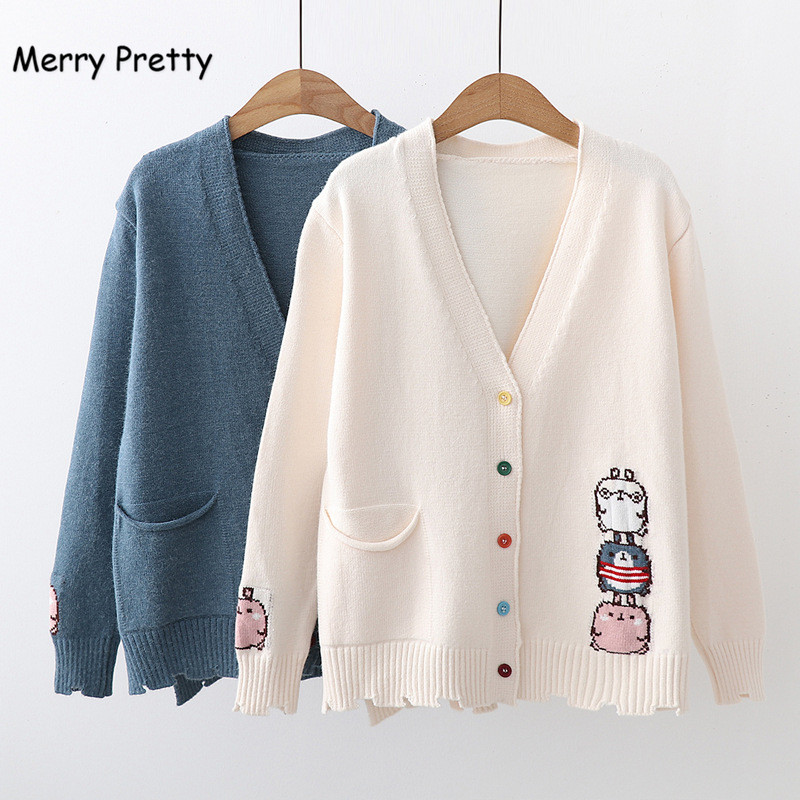 Merry Pretty Fall Winter Preppy Style Cartoon Embroidery Cardigans Women Jacquard Knitting Single-breasted Girl Sweaters Outwear