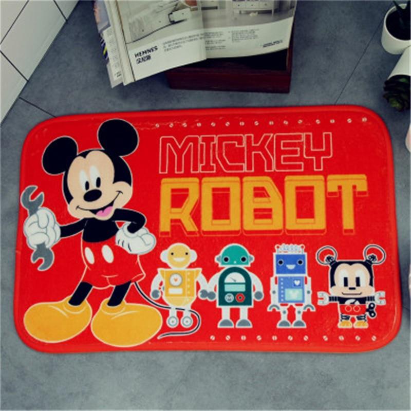 38*58CM Disney Cartoon Minnie Mickey Mouse  Door Mats Flannel Coral Velvet Carpet Non-slip Entrance Indoor Floor Rug
