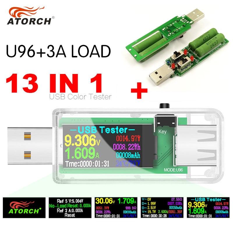 USB Tester 13 In 1 DC Digital Voltmeter Amperimetro Voltage Current Volt Meter Ammeter Detector Power Bank Charger Indicator