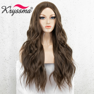 Image 4 - Kryssma Brown Wigs For Women Long Wavy Synthetic Wigs Womens Cosplay Wigs Heat Resistant Fiber Hair Wig Full Machine Made Wig