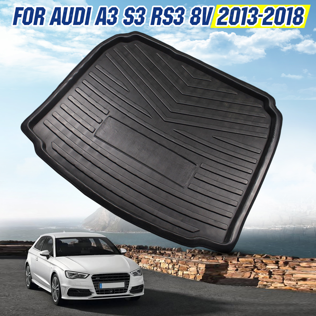 Car Interior Cargo Liner Boot Tray Rear Trunk Cover Matt Mat Floor Carpet Kick Pad For Audi A3 S3 RS3 8v 2013 2014 2015 - 2018