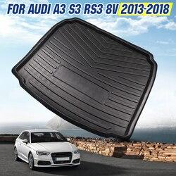 Wnętrza samochodu mata do wyłożenia podłogi bagażnika Boot taca tylna pokrywa bagażnika Mat mata dywan na podłogę podkładka do kopania dla Audi A3 S3 RS3 8v 2013 2014 2015 2018 na