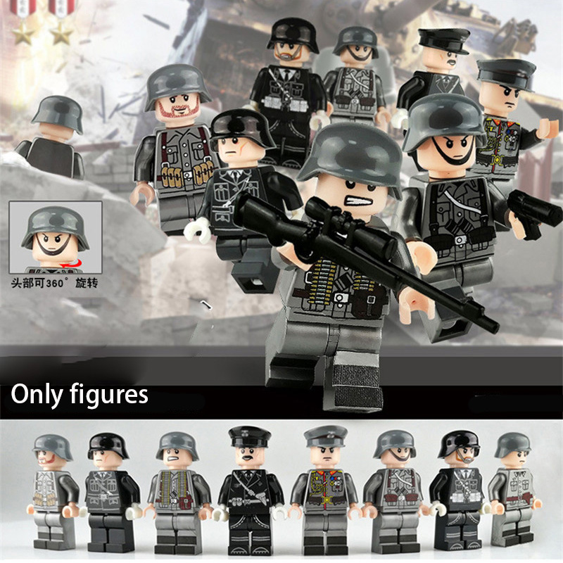 8PCS WW2 ทหารกองทัพเยอรมัน Officer ทหารอาคารบล็อกอุปกรณ์เสริม DIY Legoinglys อิฐของเล่นเด็ก