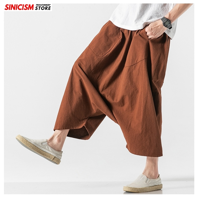 Sinicism Store Men Solid Summer Cross Pants Mens 2020 Japanese Wide Leg Trousers Male Linen Chinese Style Pants Clothing 5XL 18