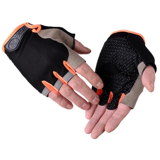 2 pçs luvas de ciclismo anti-derrapante anti-suor masculino feminino metade do dedo luvas respirável anti-choque luvas esportivas mtb bicicleta luva 3