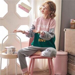 Image 4 - JRMISSLI conjuntos de pijamas de otoño para mujer, ropa de dormir de manga larga, 100% de algodón, para estar en casa