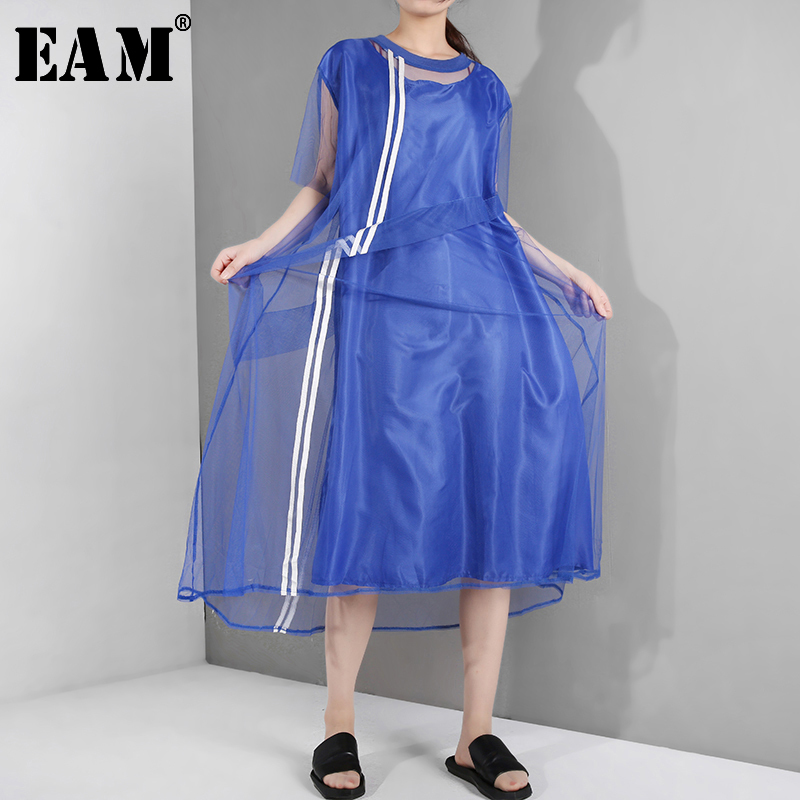 [EAM] 2020 New Spring Summer Round Neck Short Sleeve Blue Mesh Striped Split Joint Loose Big Size Dress Women Fashion WG9060
