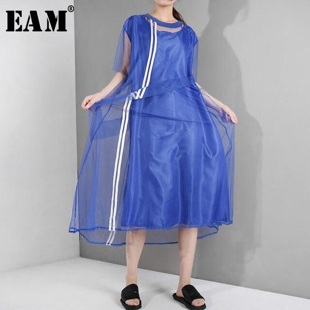 [EAM] جديد 2020 للربيع والصيف ، فستان قصير الاكمام مع فتحة مخططة باللون الازرق ، فستان كبير الحجم للنساء موضة WG9060