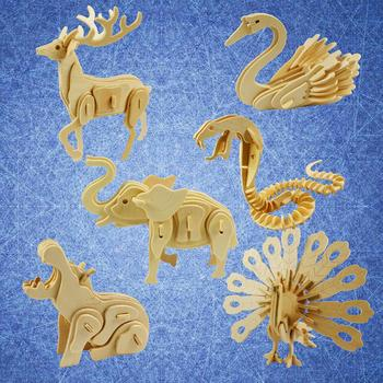цена на Kids 3D Wooden Puzzles Toy Blank Puzzles DIY Assembling Animal Model Crafts Kits Education Kids Toy Gift