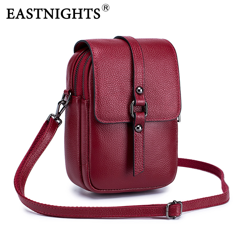 EASTNIGHTS Genuine Leather Shoulder Bag Small Crossbody Bags For Women Fashion Phone Bag Cross Body With 2 Zipper Pouch