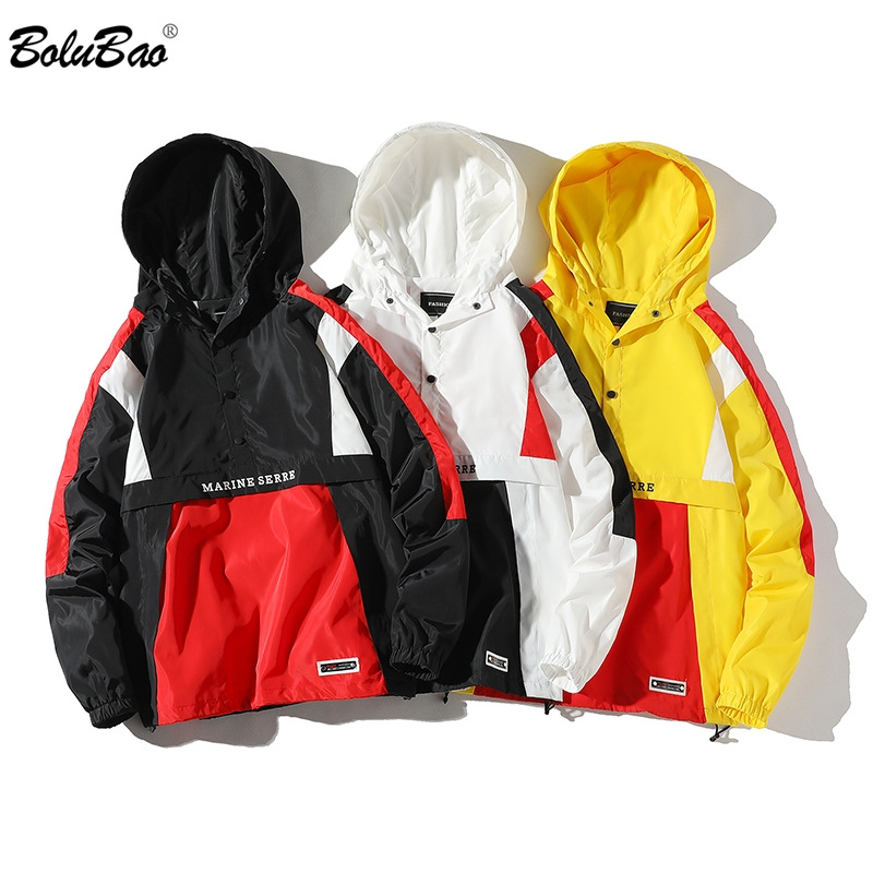 FGKKS Trend Brand Men Fashion Jackets Spring New High Street Hip Hop Men's Hooded Jacket Coats Patchwork Casual Jacket Male