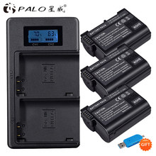PALO 3pcs 2500mAh EN-EL15  EN EL15 ENEL15 7V battery case + USB LCD Charger for Nikon DSLR D500 D600 D610 D800 D800E D810 D7000 2x decoded en el15 bateria enel15 en el15 camera battery for nikon d500 d600 d610 d750 d7000 d7100 d7200 d800 d850 d810 d810a