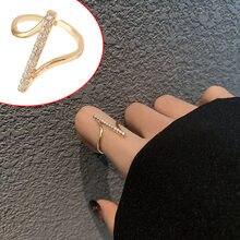 Charme irregular anéis ajustáveis jóias femininas simples elegante ouro cobre strass aberto anel bom presente 2021 novo