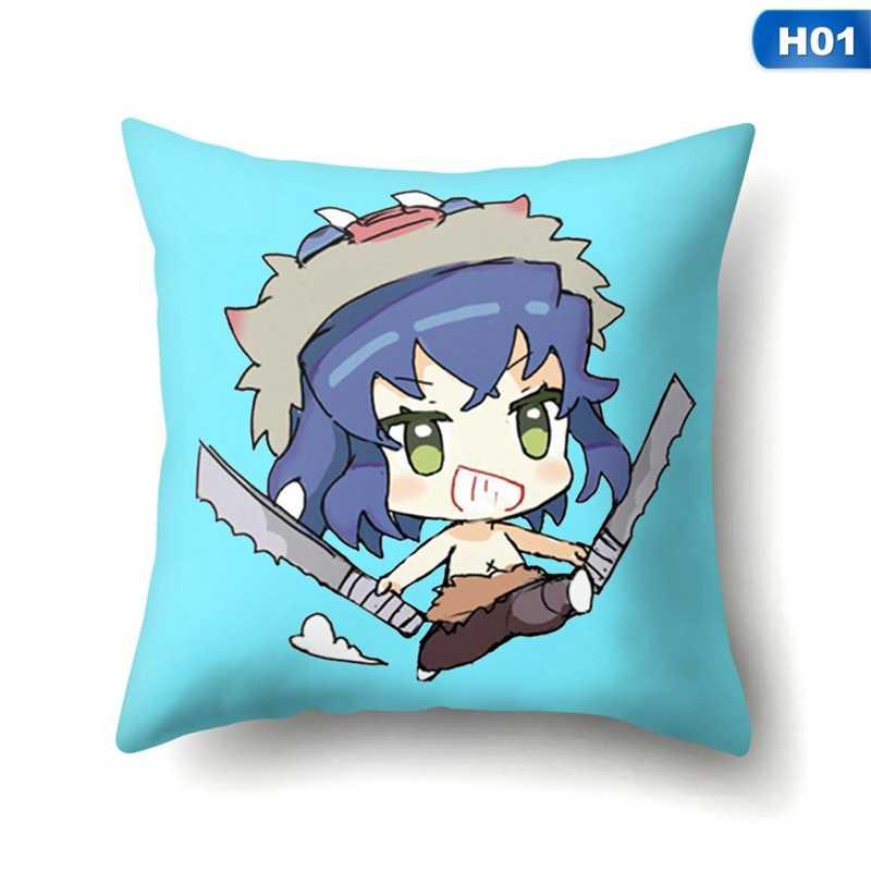 アニメ悪魔特効 Kimetsu なし Yaiba 枕装飾枕用見えないジッパー式スロー枕 45X45cm