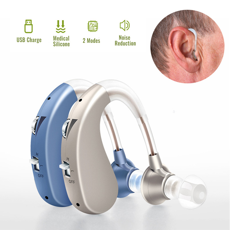 1pc Rechargeable Digital Hearing Aid Severe Loss BTE Ear Aids High-Power Hearing Assistant Sound Amplifier For The Elderly FDA