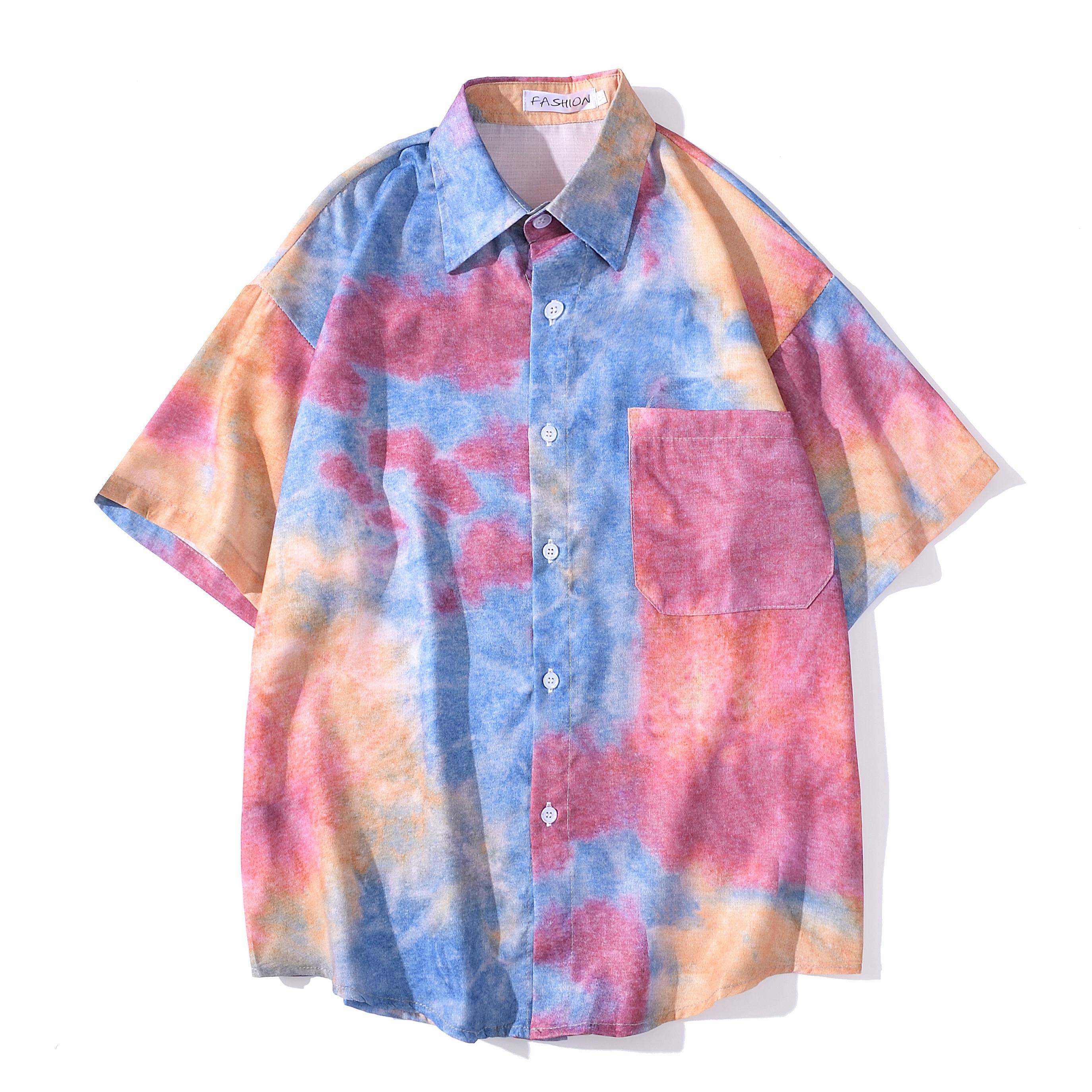 Men's Top Casual Loose Solid Short Sleeve Tie-dye Short Sleeve Shirt Beach Short Sleeve  Man Shirt Mannelijke Mannen Shirts Tops