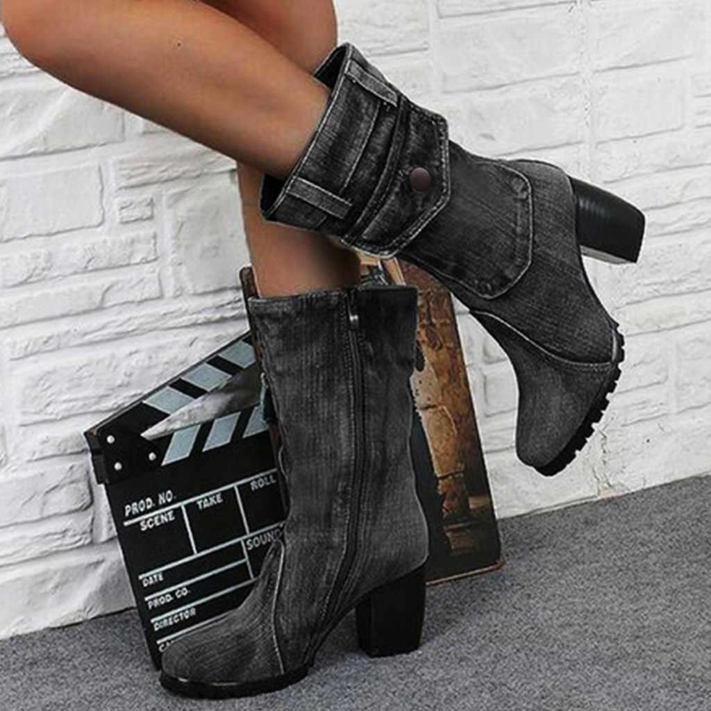 DENIM รองเท้าสำหรับสตรีกลางโรมสีทึบขนาดใหญ่ขนาดรองเท้าผู้หญิง SLIP-ON Chunky ส้นกลางลูกวัวรองเท้า chaussures Femme