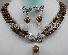 free shipping 2Strds 8mm African Roar Tiger's Eye Necklace Earring(China)