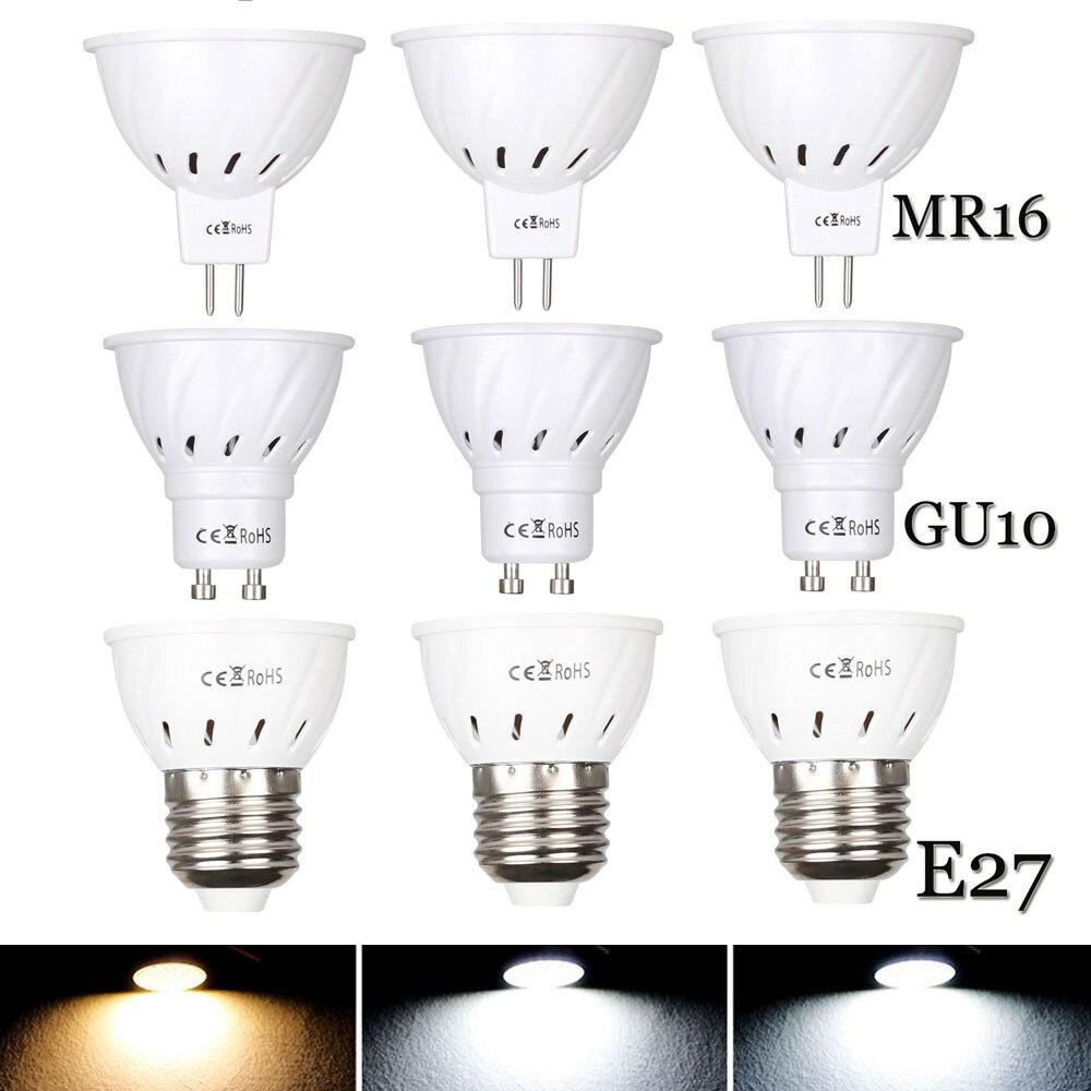 10 個の Dc 12V 24V 110V 220V GU10 LED スポットライト MR16 ランプスポットライト電球 E27 led ランパラ bombillas はジーユー 10 2835 ライト 3 ワット 5 ワット 7 ワット