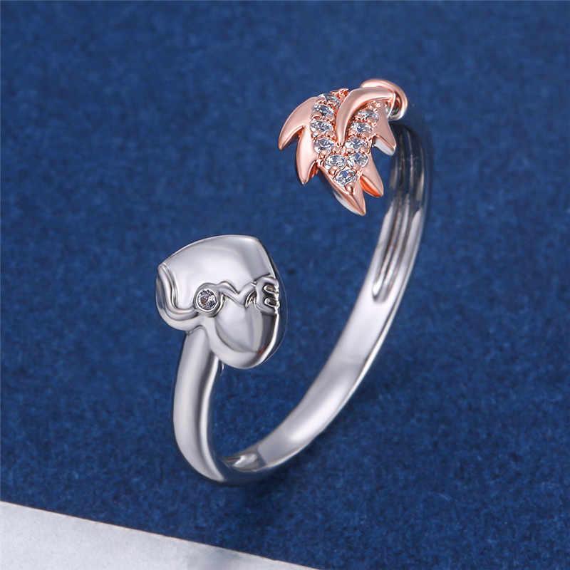 Minimalist หญิงขนาดเล็ก Feather Leaf แหวนเงิน Rose Gold Bridal หมั้นแหวน Zircon แหวน