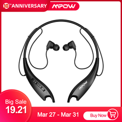 Mpow Jaws Gen-5 Sport Bluetooth Headphones 18 Hrs Playtime V5.0 Bluetooth Neckband Headphones Noise Cancelling Wireless Headset